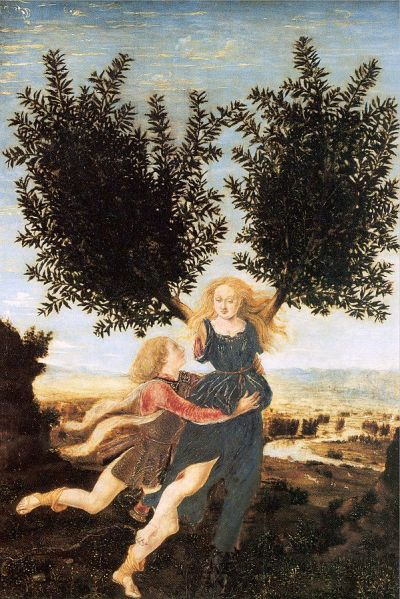 Apollo and Daphne by Antonio del Pollaiuolo (probably 1470-1480)